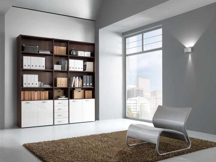 Interesting libreria a muro con scaffali e cassetti with for Libreria a muro bianca