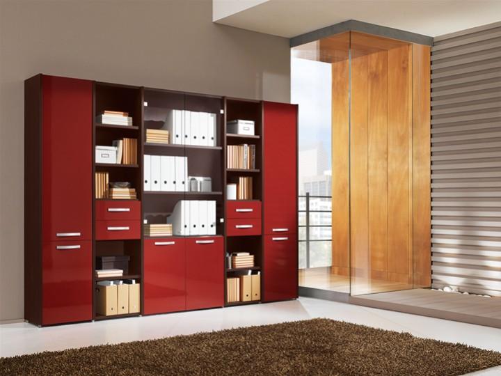 Libreria a muro con scaffali e cassetti mobili on line for Scaffali da ufficio