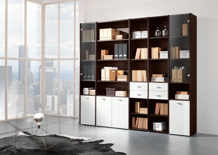 libreria a muro con scaffali e cassetti mobili on line