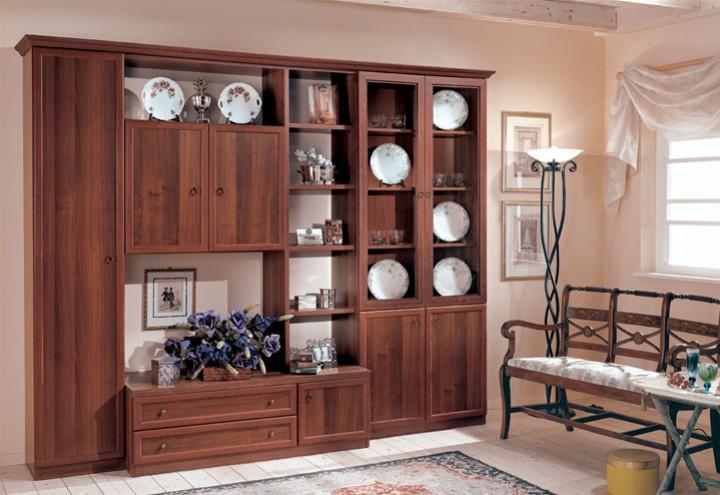 Parete soggiorno con vetrina doppia mobili on line for Arredamento casa soggiorno