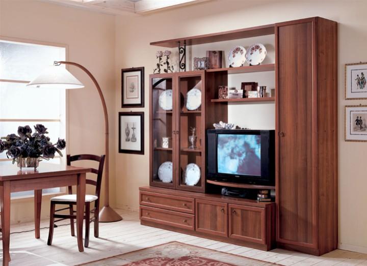 Parete soggiorno con vetrina doppia mobili on line - Mobili a parete per soggiorno ...